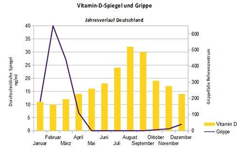 Grippewellen treten immer in der Zeit niedriger Vitamin-D-Spiegel auf.